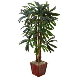 5 Raphis Palm Tree in Bamboo Planter Silk