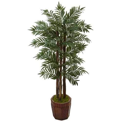 4.5 Parlour Palm Tree in Bamboo Planter Silk