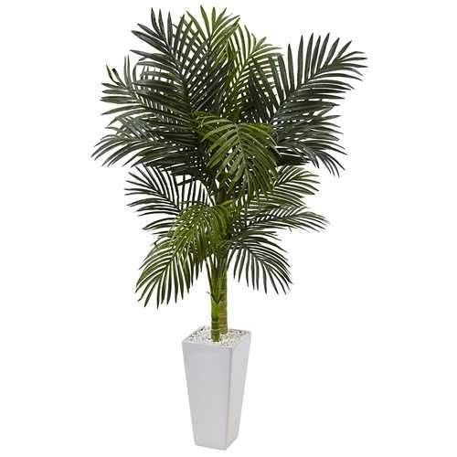 5 Golden Cane Palm Tree in White Tower Planter Silk