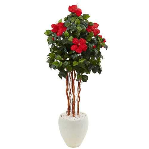 4.5 Hibiscus Tree in White Oval Vase Silk