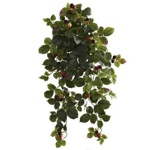 Raspberry Hanging Bush with Berry (Set of 2) Silk Plant