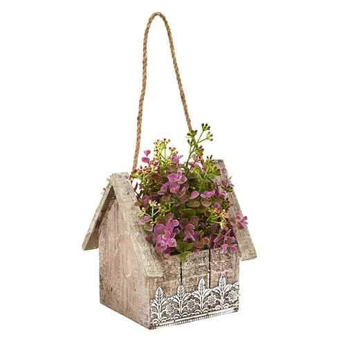 Sedum and Eucalyptus Artificial Plant in Birdhouse Hanging Basket Silk Plants