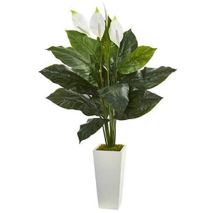 51 Spathifyllum Artificial Plant in White Tower Planter Silk Plants""