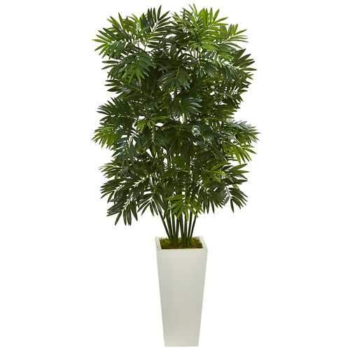49 Mini Bamboo Palm Artificial Pant in White Tower Planter Silk Plants