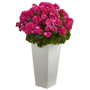 27 Geranium Artificial Plant in White Planter UV Resistant (Indoor/Outdoor) Silk Plants""