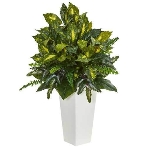 Mixed Emerald Philodendron Artificial Plant in White Tower Planter Silk Plants
