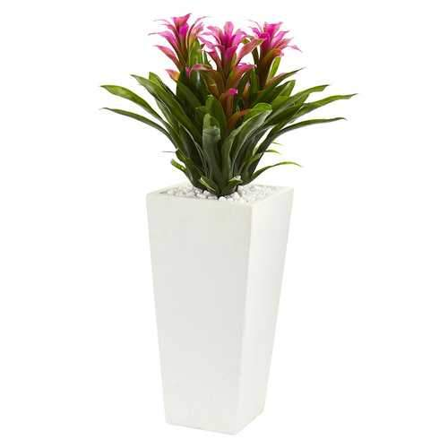 Triple Bromeliad Artificial Plant in White Tower Planter Silk Plants
