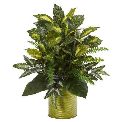 Mixed Greens in Green Tin Planter Artificial Plant Silk Plants