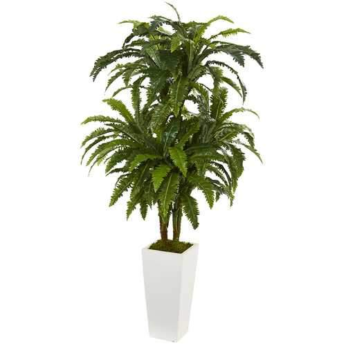 Marginatum Artificial Plant in White Tower Vase Silk Plants