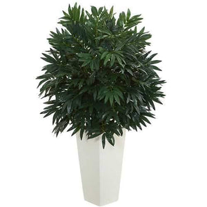 Double Bamboo Palm Artificial Plant in White Tower Vase Silk Plants