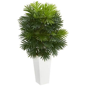 Areca Palm Artificial Plant in White Tower Planter Silk Plants