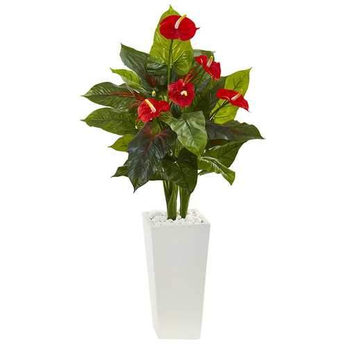 4.5' Anthurium Artificial Plant in White Tower Planter Silk Plants