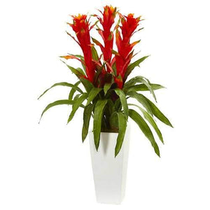 Bromeliad Artificial Plant in White Tower Planter Silk Plants