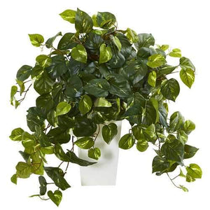 Pothos Artificial Plant in White Tower Vase Silk Plants