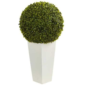 28 Boxwood Topiary Ball Artificial Plant in White Tower Planter (Indoor/Outdoor) Silk Plants""