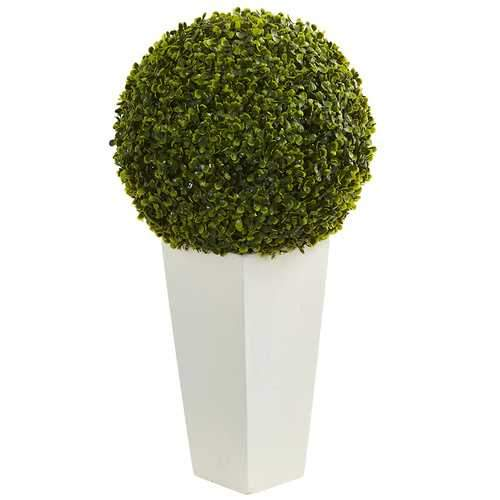 28 Boxwood Topiary Ball Artificial Plant in White Tower Planter (Indoor/Outdoor) Silk Plants