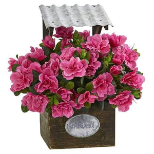 Azalea Artificial Plant in Tin Roof Wood Planter Silk Plants