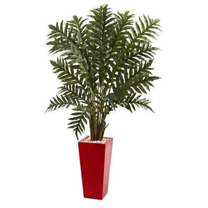 4.5 Evergreen Artificial Plant in Red Tower Vase Silk Plants