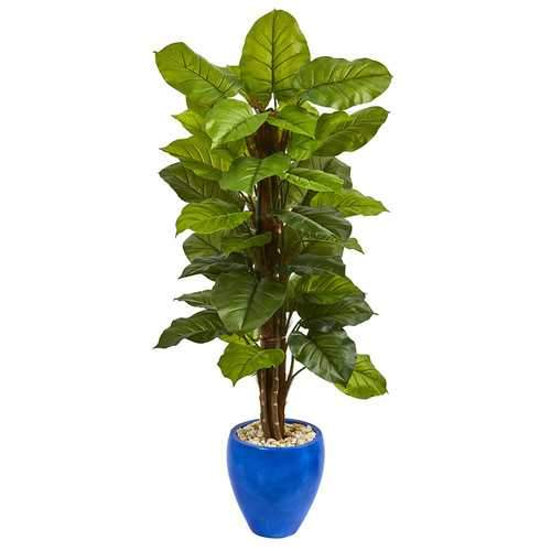 5 Large Leaf Philodendron Artificial Plant in Blue Planter (Real Touch) Silk Plants
