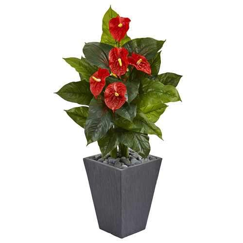 4 Anthurium Artificial Plant in Slate Planter (Real Touch) Silk Plants
