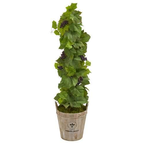 3.5 Grape Artificial Plant in Barrel Planter Silk Plants
