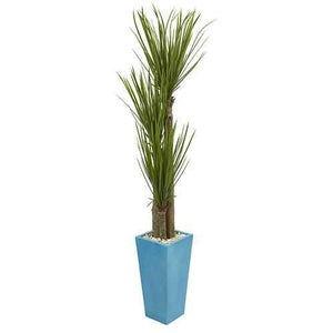 6 Triple Stalk Yucca Artificial Plant in Turquoise Planter Silk Plants