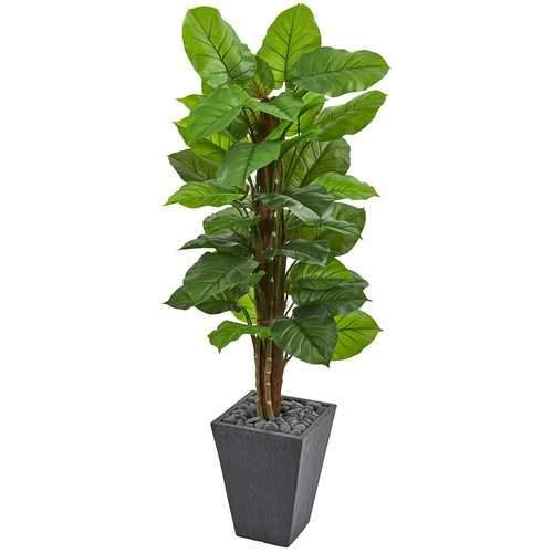 5 Large Leaf Philodendron Artificial Plant in Slate Planter (Real Touch) Silk Plants