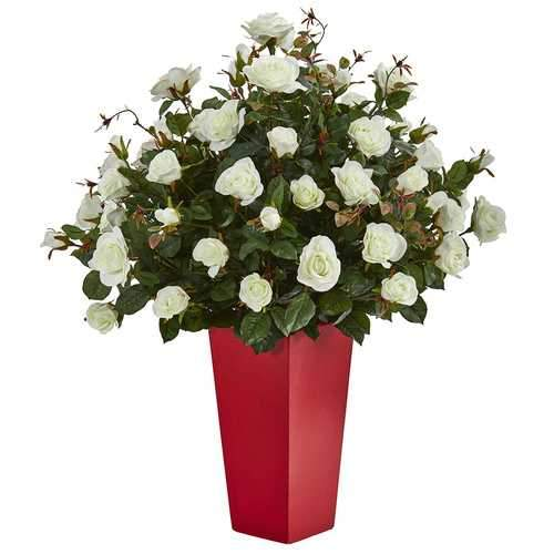 Rose Bush Artificial Plant in Red Planter Silk Plants