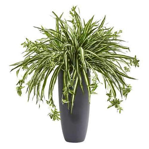33 Spider Artificial Plant in Cylinder Planter Silk Plants