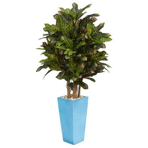 4 Croton Artificial Plant in Turquoise Planter Silk Plants
