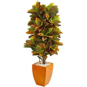 5.5 Croton Artificial Plant in Orange Planter (Real Touch) Silk Plants