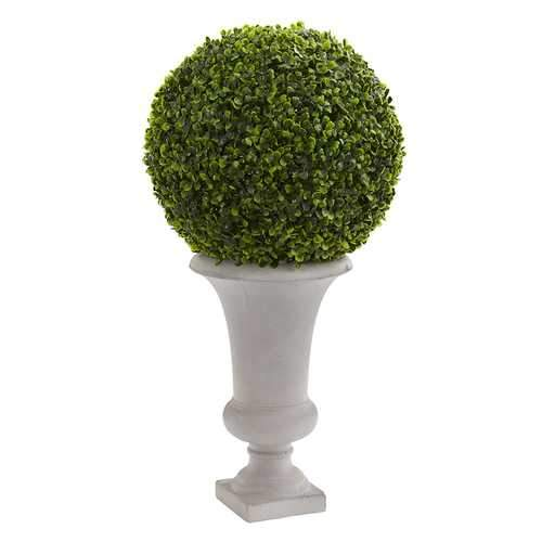 28 Boxwood Ball Topiary Artificial Plant in Urn (Indoor/Outdoor) Silk Plants