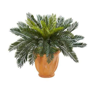 Cycas Artificial Plant in Terracotta Planter Silk Plants