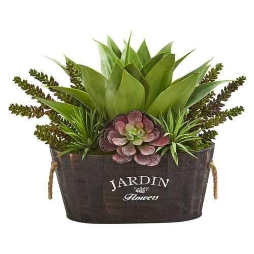 Succulent Garden in Wood Planter Silk Plants