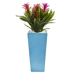 26 Triple Bromeliad Artificial Plant in Turquoise Tower Vase Silk Plants