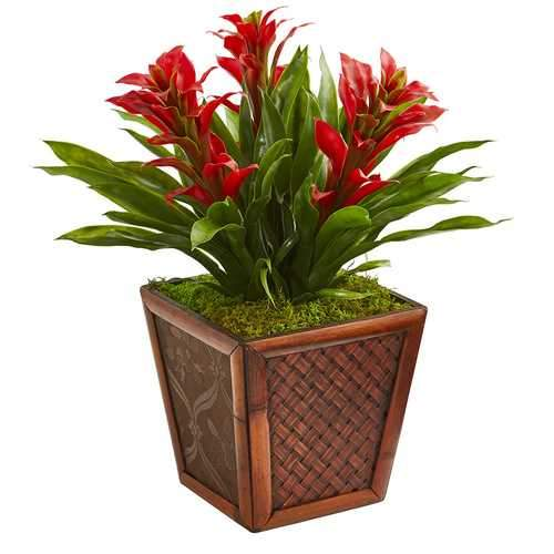Triple Bromeliad Artificial Plant in Decorative Planter Silk Plants