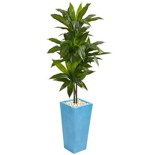 5 Dracaena Artificial Plant in Turquoise Tower Vase Silk Plants