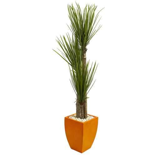5.5 Triple Stalk Yucca Artificial Plant in Orange Planter Silk Plants