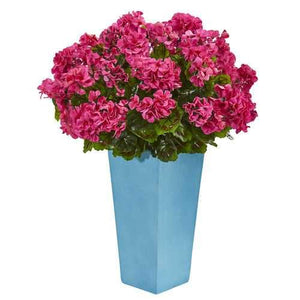 Geranium Artificial Plant in Turquoise Planter UV Resistant (Indoor/Outdoor) Silk Plants