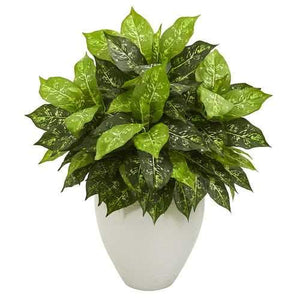 Dieffenbachia Artificial Plant in White Planter Silk Plants