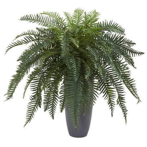 River Fern Artificial Plant in Cylinder Planter Silk Plants