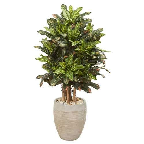 3.5 Croton Artificial Plant in Sand Colored Planter Silk Plants