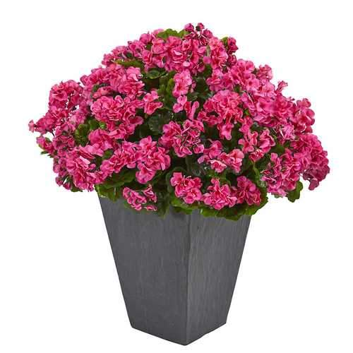 Geranium Artificial Plant in Slate Plater UV Resistant (Indoor/Outdoor) Silk Plants