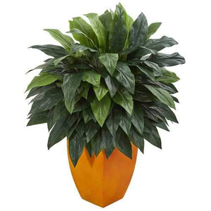 Cordyline Artificial Plant in Orange Planter Silk Plants