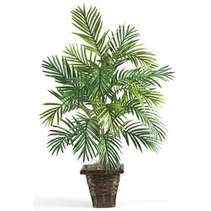 Areca Palm w/Wicker Basket Silk Plant Plant, Floor