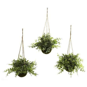 Eucalyptus, Maiden Hair & Berry Hanging Basket (Set of 3) Silk Plant