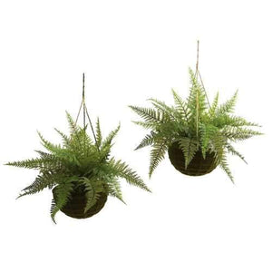 Leather Fern w/Mossy Hanging Basket (Indoor/Outdoor) (Set of 2) Silk Plant