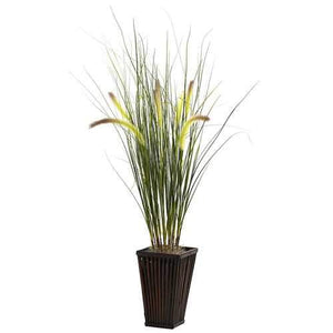 Grass w/Cattails & Bamboo Planter Silk Plant