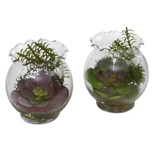 Succulent w/Fluted Vase (Set of 2) Silk Plant