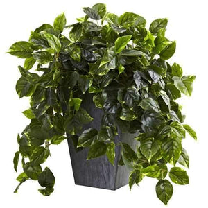 Hanging Pothos w/Slate Planter UV Resistant (Indoor/Outdoor) Silk Plant